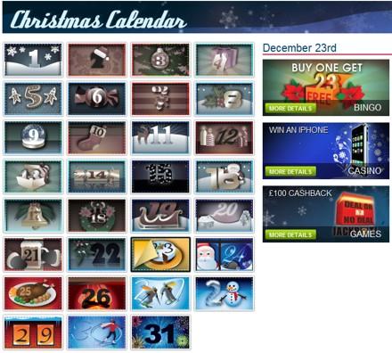 Christmas calendar William Hill